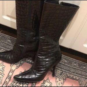 Via Spiga Shoes | Vintage Mid-Calf Textured-Look